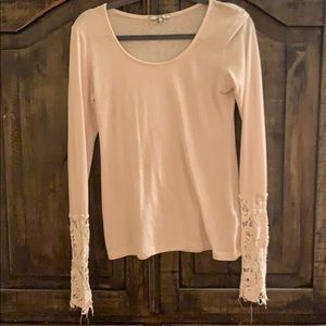 Cream top with lace distressed
